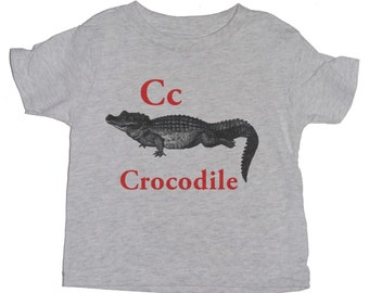 C for Crocodile Antique Print English Alphabet  Kid Toddler Short Sleeve Long Sleeve T-shirt.