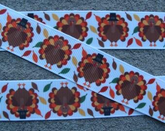 "Turkey Ribbon Thanksgiving Ribbon Happy Turkey Printed Ribbon 7/8"" Hair Bow Ribbon #002"