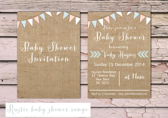 printable rustic baby shower invitation burlap bunting pastel
