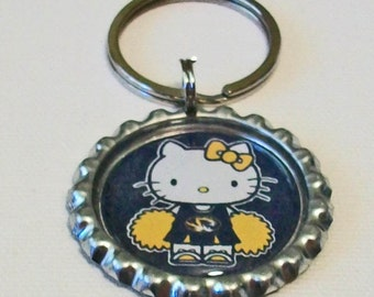 Black and Gold Mizzou Cheerleader Missouri Tigers Inspired Metal Flattened Bottlecap Keychain