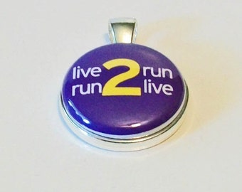 Bright Purple Live 2 Run Run 2 Live  Round Silver Pendant