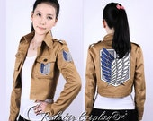 New Attack on Titan Shingeki no Kyojin Recon Corps / Army Coat / Top Jacket - All Embroidery patches