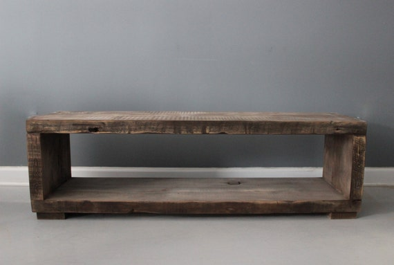 Driftwood coffee table media stand handmade from by for Driftwood tables handmade