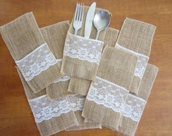 Hessian Burlap Lace Wedding Cutlery Holder Pouch Rustic Decorations Favours FREE POSTAGE Australia Wide