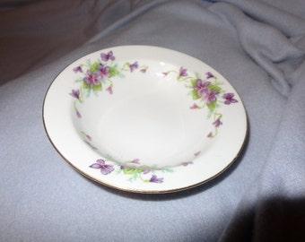 Vintage Wentworth China 5.5 inch Fruit Bowl, Viola Pattern, Purple Violet Flower