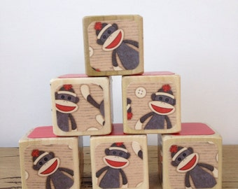 Sock Monkey // Childrens Blocks // Natural Wood Toy