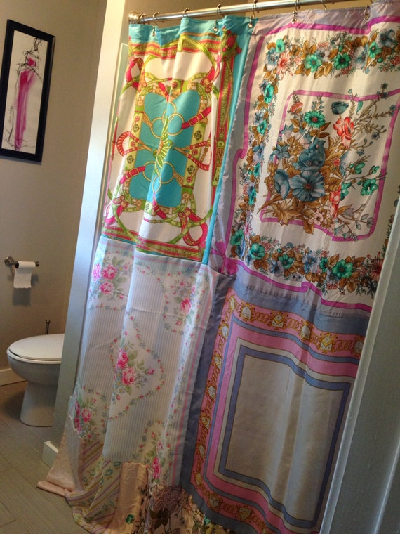 Pleasantly Pastel Upcycled Silk Scarf Shower Stall Curtain