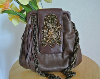 Festival Shoulder Bag Brown Leather with Tassel and Ornate Brooch with Swarovski Crystals by Liz Soto