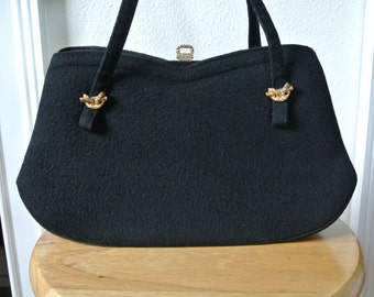 1960s Kelly Bag Black Soft Felt with Gold tone Ornate Ribbons by Miss Lewis Mod Retro