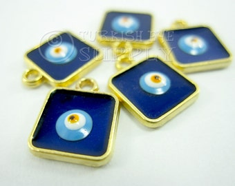 5 pc Mini Square Evil Eye Charms, Enameled Square Evil Eye Charm Good Luck Charms, 22K Gold Plated, Turkish Jewelry, Turkish Findings