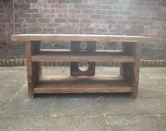 Rustic TV stand unit large entertainment table double shelf