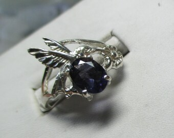 Ladies iolite hummingbird sterling silver floral ring