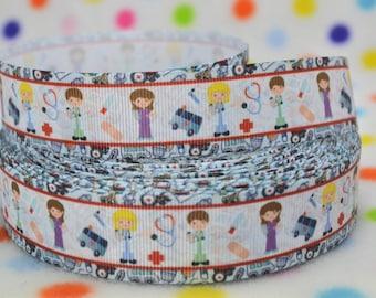 3 yards 1 inch Medical Doctor Kids - Printed Grosgrain Ribbon