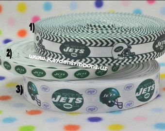 """3 yards New York NY Jets - 3/8"""", 7/8"""", or 1 inch - Printed Grosgrain Ribbon"""