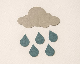 Rain Cloud Confetti Embellishments- 50 cloud pieces and 300 rain drops- Many colors available