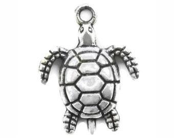 10 pcs - Silver Sea Turtle Charm 23x18mm - by TIJC - SP0915
