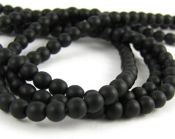Matte Jet Black 4mm Smooth Round Czech Glass Beads 100pc #672