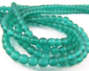Matte Emerald Green 4mm Smooth Round Czech Glass  Beads 100pc #15