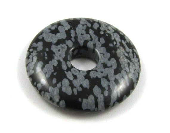 snowflake obsidian 25mm gemstone donut bead or pendant by