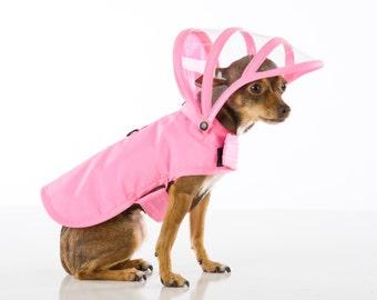Dog Raincoat - Pink - Rainbow Line