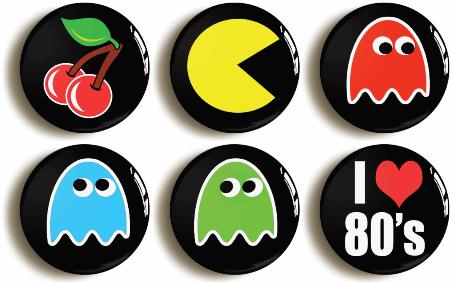 set of six eighties retro pacman computer game badges. Black Bedroom Furniture Sets. Home Design Ideas