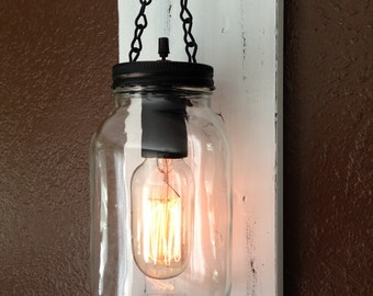 Rustic Wall Sconces Plug In : Vintage White Rustic Mason Jar Wall Light/ Sconce Light with cord and wall plug.
