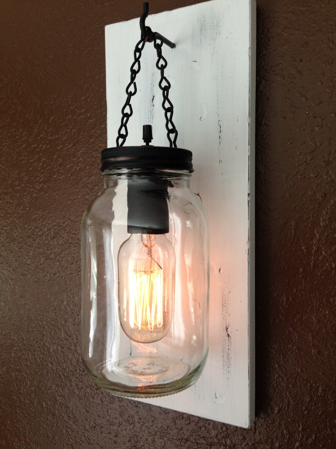 rustic mason jar wall light sconce light by winecountrylights. Black Bedroom Furniture Sets. Home Design Ideas