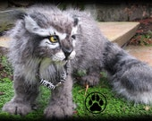 Alkali the granite lynx cub poseable art doll OOAK.