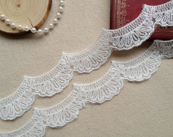 White Scalloped Lace, Cotton Embroidery Lace Trim, Wedding Supply, Gift Wrap, 2 Yards
