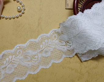 Off white Stretch Lace Trim Embroidery Flower Elastic Lace For Bridal, Baby Headband, Garters, Lingerie, Costumes
