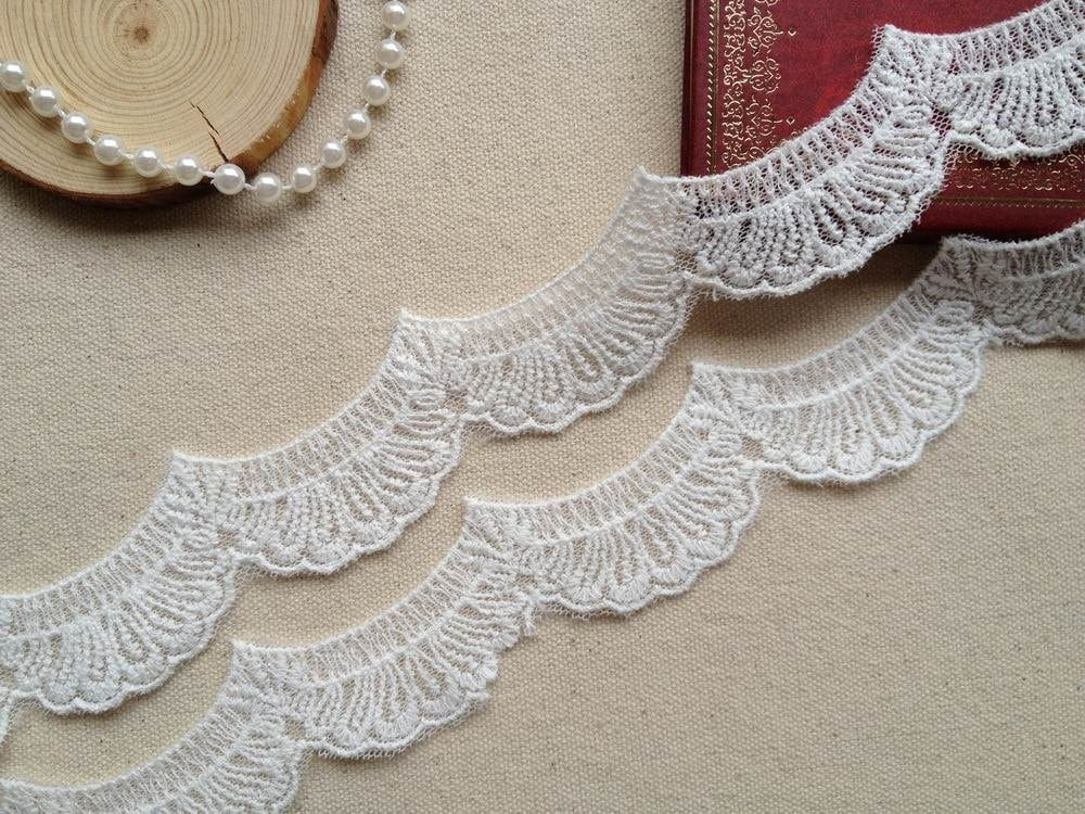 White Scalloped Lace Cotton Embroidery Lace Trim Wedding