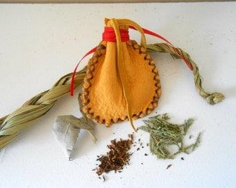 Sacred Medicine Bundle, Medicine Pouch with Sacred Herbs, Handmade, Native American