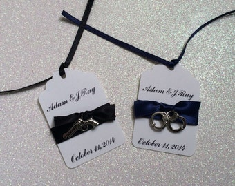 10 Personalized Law Enforcement Tags, Police Tags, Police Place Cards, Police Wedding Tags, Police Party Favors, Police Retirement, Cop Gift