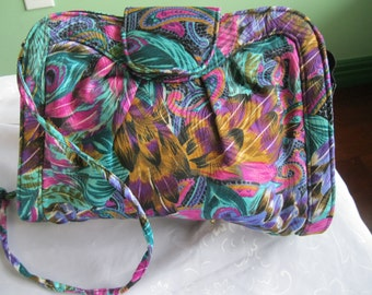 Vintage Colorful Fabric Clutch Handbag by J Renee Handbags