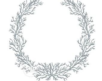 Gray Silver Coral Frame - Original art download,  coral wreath, coral frame, preppy frame, preppy theme, preppy coral