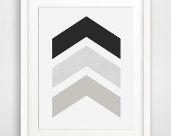 Black and White Chevron Wall Art, Black Chevron Print, Greyscale, Taupe, Chevron Art, Black Chevron Print, Grey Chevron Wall Print
