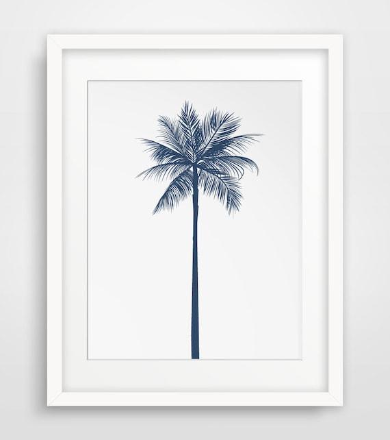 palm tree decor navy wall decor navy wall print palm. Black Bedroom Furniture Sets. Home Design Ideas