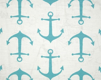 SHIPS SAME DAY Premier Prints Anchors Costal Blue Nautical Slub Fabric - Fabric by the 1/2 yard - Blue anchors