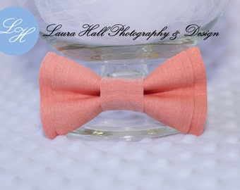 Bow Tie - CORAL bow tie, Coral double bow bow tie, Apricot bow tie, newborn toddler boys bow tie, mens coral bow tie,hair bow for girls