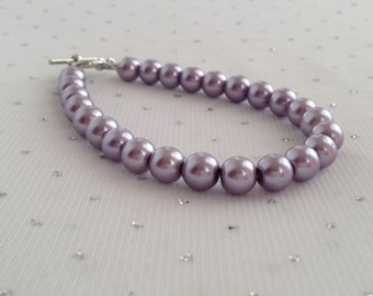 Purple Pearl Bracelet, Purple Wedding, Purple Jewelry, Purple Bracelet, Wedding Jewelry, Light Purple Jewelry