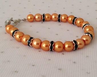 Orange Pearl Bridesmaid Bracelet, Fall Wedding Jewelry, Orange Rhinestone Bracelet, Bridesmaid Gift, Orange and Black Jewelry