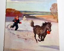 "Vintage Horse Illustration, The Shetland Pony, Children's Book Color Plate, 8-7/8"" x 10-7/8"", To Frame"