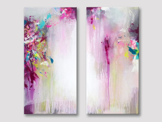 2 parties de peinture abstraite tirage dart moderne for Peinture toile moderne