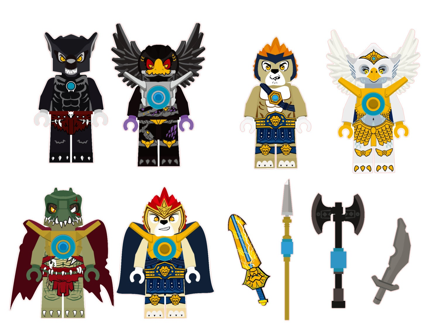 the lego chima characters removable wall stickers 6 piece set