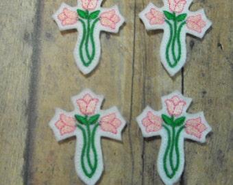Pink Tulip Cross Easter felties - feltie - machine embroidered - applique - hairbow center - felt embellishment - Scrapbook