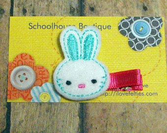 Pale Blue Bunny felt Hair Clips, Easter Basket Filler,Felties, Felt Hair Clips, Felt Hair Clippie, Hair Accessories