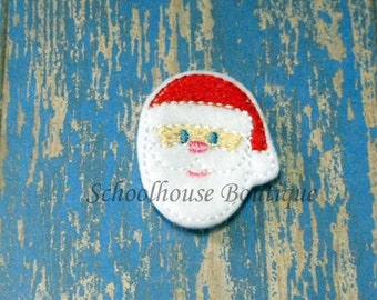 Santa Face felties, Christmas feltie, machine embroidered, felt applique, felt embellishment, hairbow center,scrapbook embellishment