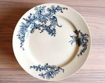 Antique Plates/Antique Boch Freres Keramis Regent Transferware Plates Set of 4/Vintage Transferware