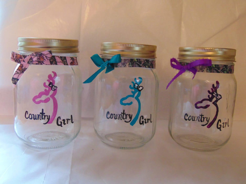 Hand painted mason jar drinking glasses buckmark by for Hand painted drinking glasses