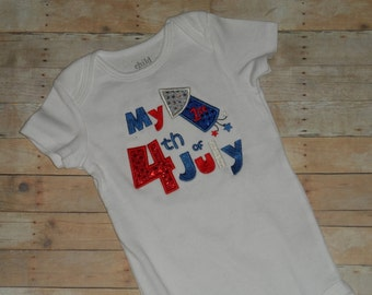 Infant Baby Toddler Girls Custom Patriotic FIRST 4th of July Applique Shirt Holiday Sparkle Newborn 3 6 9 12 18